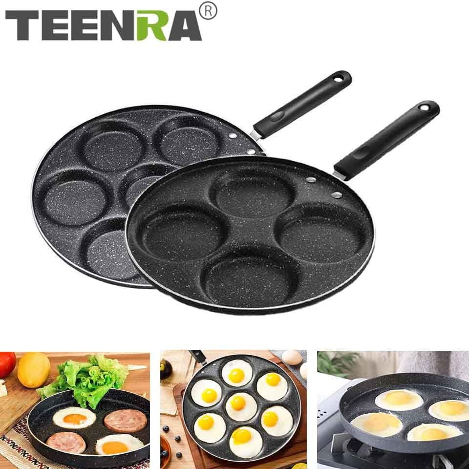 arcadia.zone TEENRA Four-hole Frying Pot Thickened Omelet Pan Non-stick Egg Pancake Steak Pan Cooking Egg Ham Pans Breakfast Maker